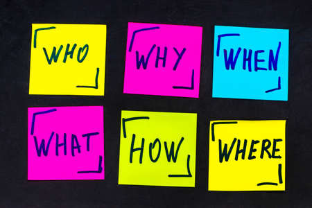 who, why, how, what, when and where questions - uncertainty, brainstorming or decision making concept, a set  colorful sticky notes on the blackBoard background. Stock Photo