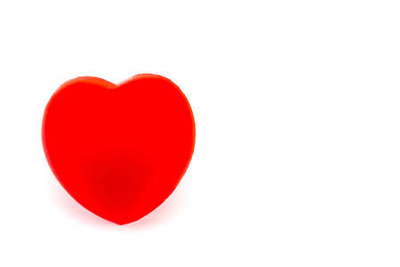 A red heart isolated on white background.with copy space.