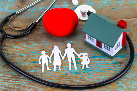 Concept of insurance over a house, Medical Insurance and a family.