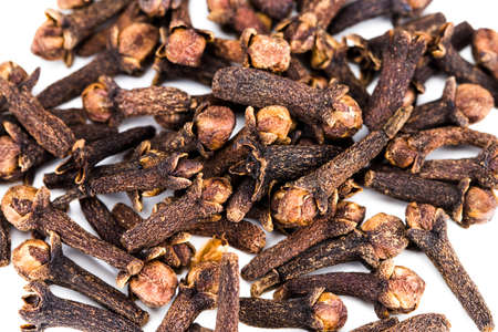 clove spices isolated on white background, close-up.