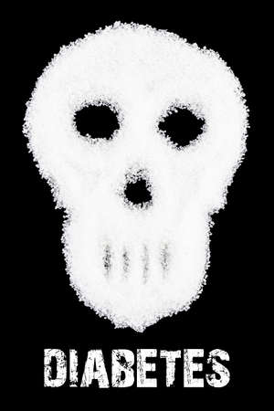 Deadly sugar addiction suggested by spilled white sugar crystals forming a skull. Diabetes mellitus concept. Фото со стока