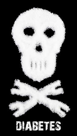 The skull made from sugar. Sugar Kills.Black  background. diabetes concept. Suggesting dieting concept. Unhealthy white sugar concept. Copy space. Space for text. Stock Photo