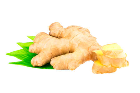 Root of ginger with leaves isolated on white background. Stock Photo