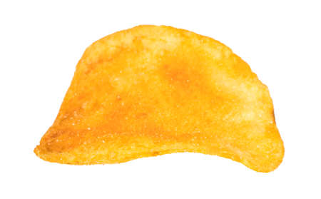 potato chips close-up on an isolated white background.