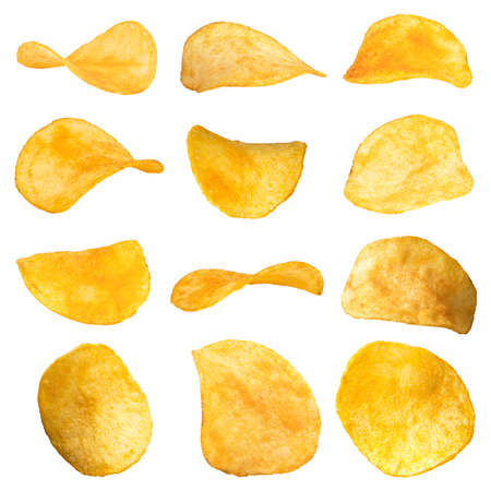 Set of potato chips close-up on an isolated white background.