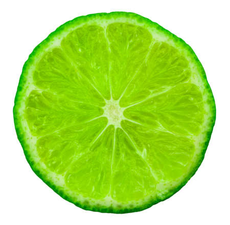 Lime slice. Fruit isolated on white background. With clipping path. Stock Photo