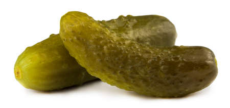 marinated pickled cucumbers isolated on white background.