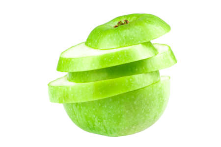 sliced green apple isolated on a white background. Stock Photo