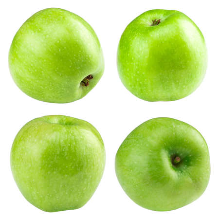Green apple collection. set of fruit isolated on whit.