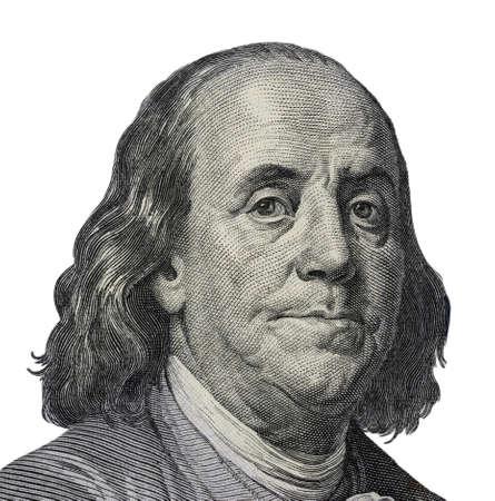 Benjamin Franklin. Qualitatives Porträt von 100 Dollar Banknote Standard-Bild