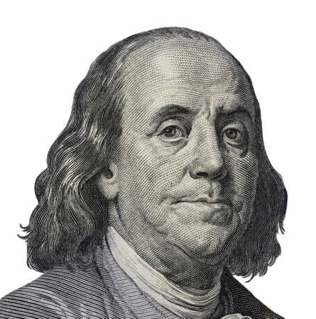 Benjamin Franklin. Qualitative portrait from 100 dollars banknote Foto de archivo