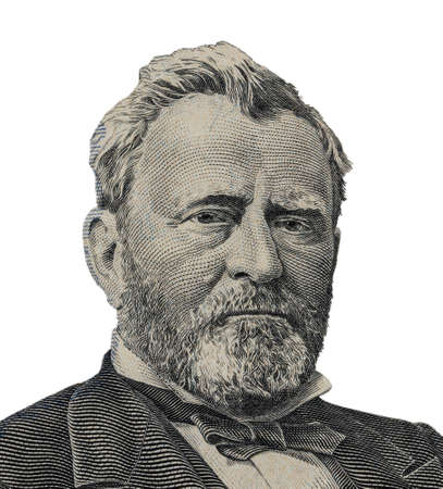 Portrait of U.S. statesman, inventor, and diplomat Ulysses S. Grant as he looks on fifty dollar bill obverse.