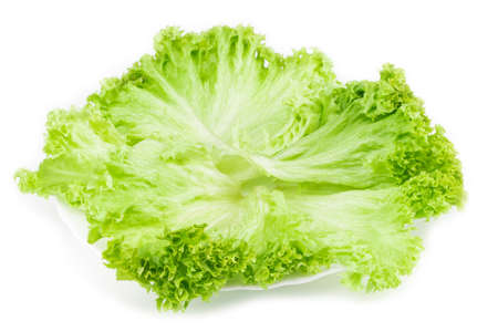 Leaf of lettuce on white plate. Top view. Isolated. Reklamní fotografie