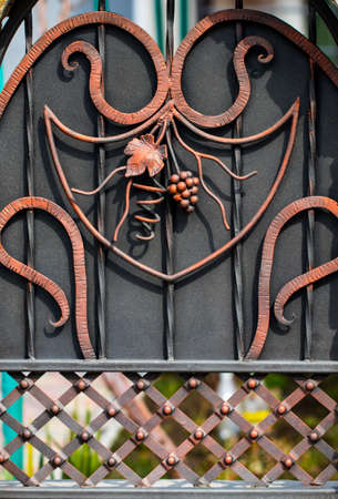 Details, structure and ornaments of forged iron gate. Floral decorative ornament, made from metal. Vintage metallic pattern. Decorative elements as a background.