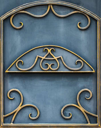 Details, and ornaments of wrought iron fence with gate. Standard-Bild