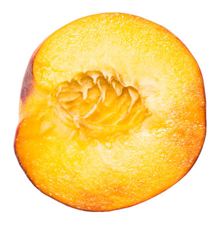 Peach. Fruit with slice isolated on white background.