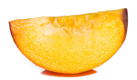 Peach slice isolated. Peach slice on white. Stock Photo