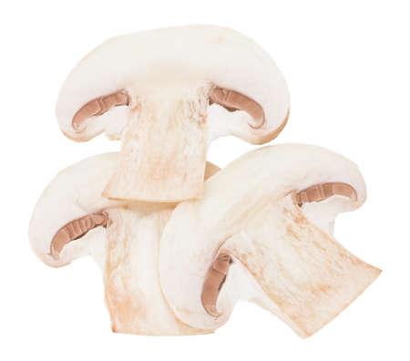 slices champignon mushrooms isolated on white background.