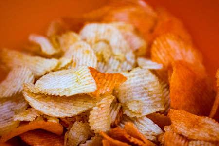 Bag of Potato Chips. Potato chips  packing close up.