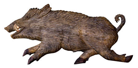 Wooden hand made, wild boar isolated on white.