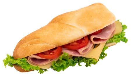 Fresh baguette sandwich with ham, cheese, tomatoes, and lettuce isolated on white background.