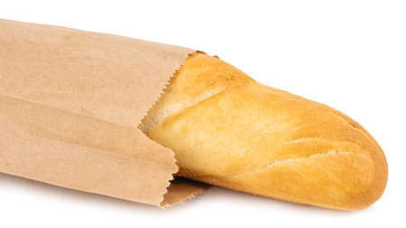 french baguette in the paper bag isolated on white. 免版税图像