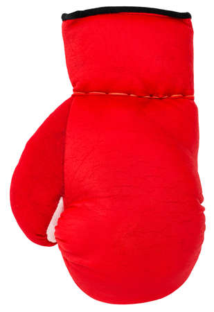 Red boxing gloves isolated on white background.