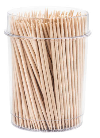 toothpicks in a box isolated on white background with clipping path.