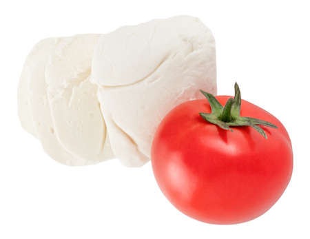 Mozzarella with tomato  isolated on a white