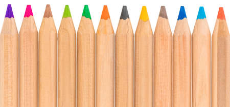 assorted color pencils, isolated on white background.