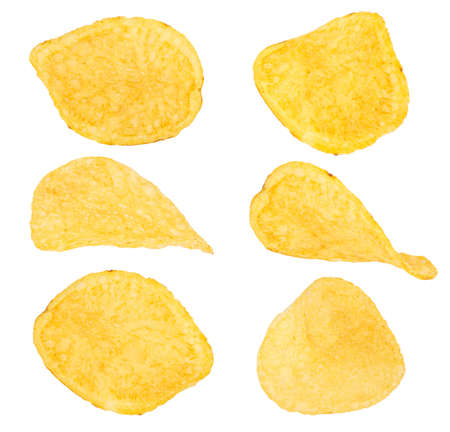 Potato chips isolated on a white