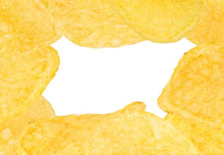 Frame with a potato chips on white Reklamní fotografie