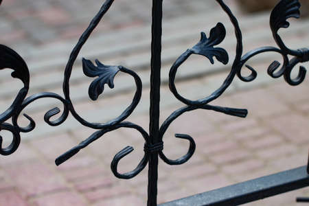 beautiful decorative metal elements forged wrought iron gates. Imagens