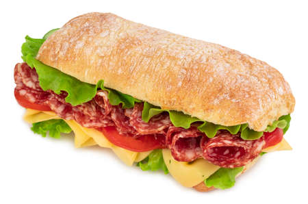 Ciabatta sandwich with lettuce, tomatoes prosciutto and cheese isolated on white background. Imagens