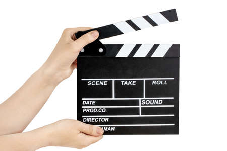 Hands holding clapper board isolated on white Stock fotó