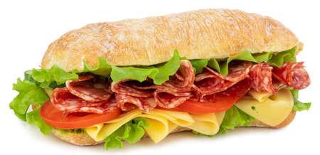 Ciabatta-Sandwich mit Salat, Tomaten, Schinken und Käse, isoliert auf weiss
