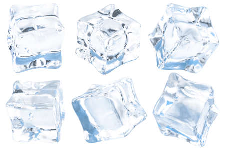 Cubes of ice on a white background. Ð¡ollection. Reklamní fotografie