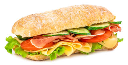 Ciabatta sandwich with lettuce, tomatoes prosciutto and cheese isolated on white