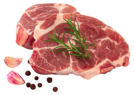 Fresh raw steak isolated on white