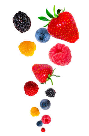 Falling berry mix isolated on a white