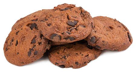 Chocolate chip cookie isolated on white Stock Photo
