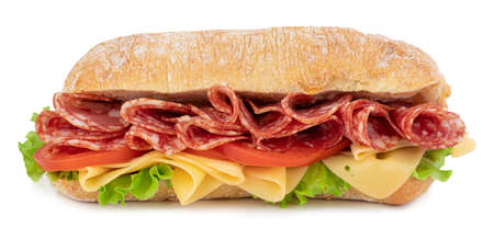 Ciabatta sandwich with lettuce, tomatoes prosciutto and cheese isolated on white Stock Photo