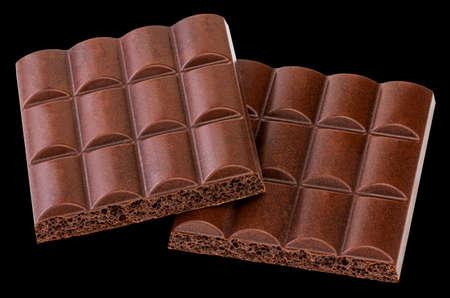 Chocolate bar isolated on black