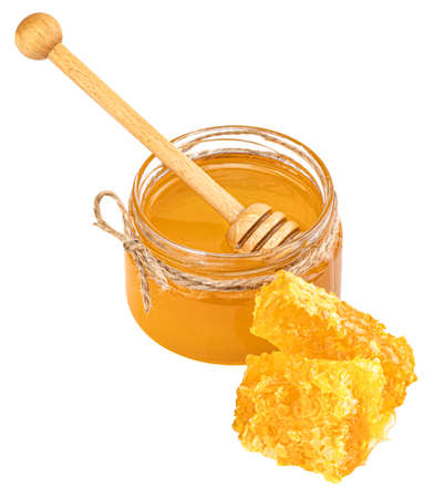 Glass Jar, Honeycomb And Dipper Isolated On White Background