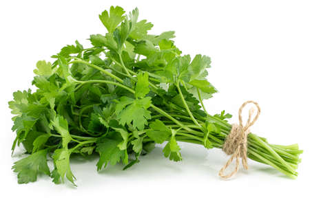bunch fresh parsley isolated on white background.