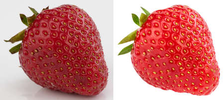 Contrast shot of strawberry before and after editing Stock Photo