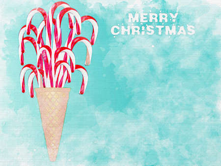 Watercolor illustration of Ice cream cone with candy canes. Minimal Christmas concept.