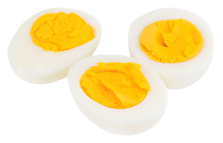 Boiled eggs isolated on white background. Stock Photo