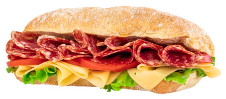 Ciabatta sandwich with lettuce, tomatoes prosciutto and cheese isolated on white Stock fotó