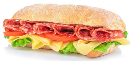 Ciabatta sandwich with lettuce, tomatoes prosciutto and cheese isolated on white background.